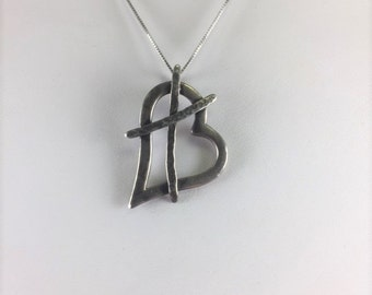 """Rustic Asymmetrical Silver Open Heart Pendant with Textured """"X"""" on a 17"""" Sterling Silver Box Chain"""