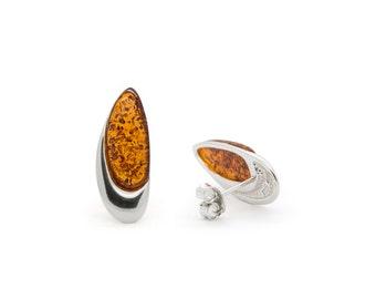 Oval Earrings - Amber Oval Earrings - Oval Stud Earrings - Silver Oval Earrings - Amber Earrings - Geometric Earrings - Amber Jewelry -521E1