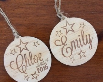 Customised wood Christmas decorations. Christmas baubles. Limited edition