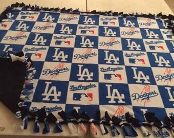 Checkered Los Angeles Dodgers hand tied fleece blanket