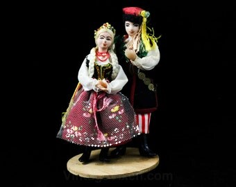 Hand Painted Dolls on Stand - 1940s 1950s Peasant Couple Man & Woman - Blond Braid Hair - Handmade in Poland Europe - 48124