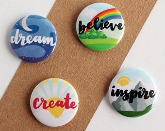 Inspirational Magnets, Motivational, Believe, Dream and Inspire, Motivational Magnet Set, Inspirational Magnet Set, Office Magnets