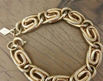 Vintage Sarah Coventry Gold Double S Link Bracelet 6.5 inches