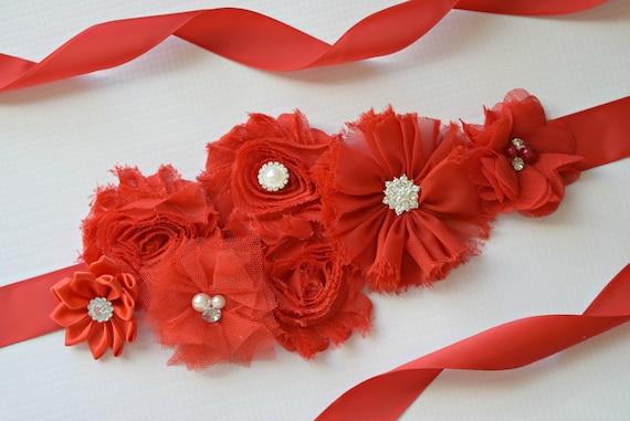 Red Sash, Christmas Sash, red  flower Belt, maternity sash, red flower belt, valentine sash