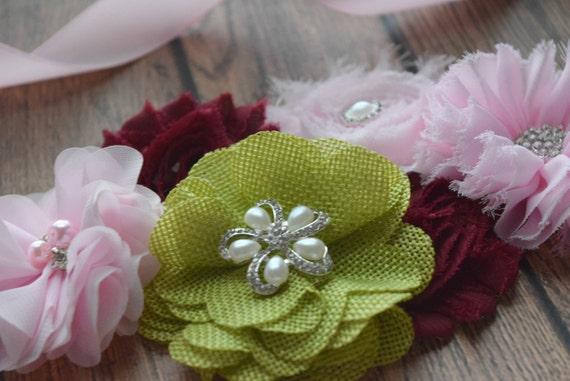 Maternity Sash belt, light pink garden dream Sash,  flower Belt, maternity sash