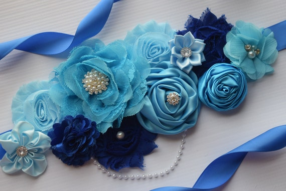 Maternity sash belt, Shade of blue Sash , sash,  flower Belt, maternity sash, baby shower gift