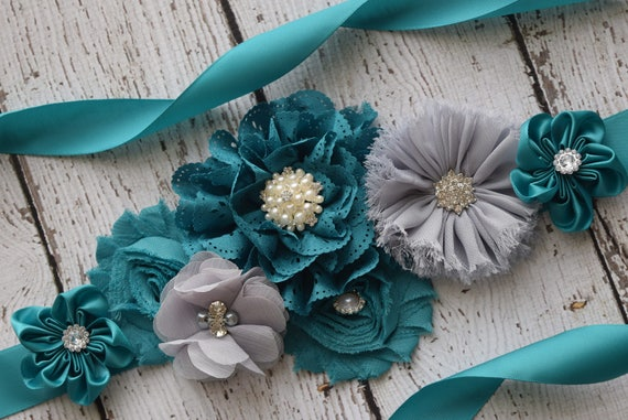 Maternity Sash, Teal grey Sash, flower girl sash, flower Belt, maternity sash belt, teal sash, flower girl sash
