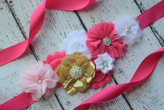 Flower Sash, Hot pink gold pink  and white Sash , flower Belt, maternity sash