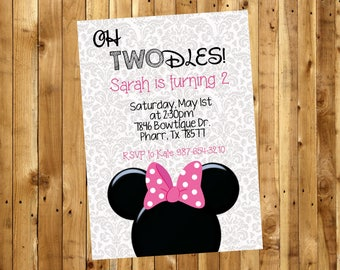 Minnie Mouse Birthday Party / 2nd Birthday Party / Pink Printable Invite / Birthday Invitation