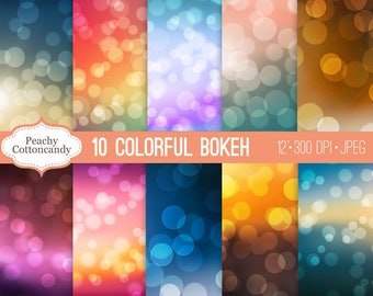 BUY 2 GET 1 FREE Colorful Bokeh Digital Papers - bokeh background digital paper - bokeh backgrounds photography overlay -Commercial Use Ok