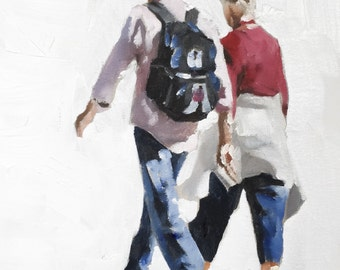 Couple Walking - Art Print - from original painting by J Coates