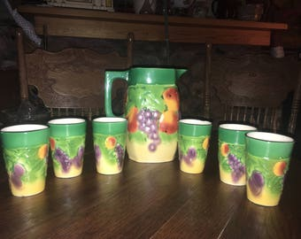 Vintage Bern Czechoslovakia Majolica Fruit Pitcher With 6 Glasses!