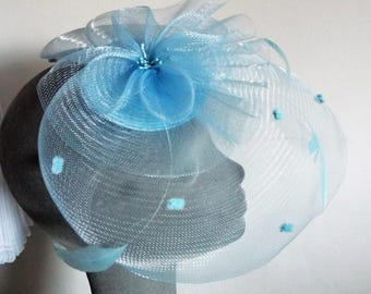 Ladies Dress Blue Fascinator Straw base with Crinoline netting and feathers to match