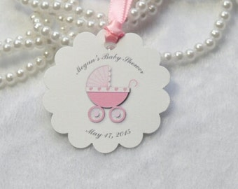 Baby girl favor tag / Pink carriage /set of 10 tags