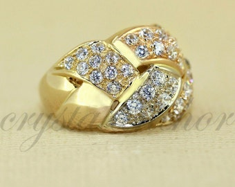 Estate 18k Yellow gold natural White Topaz Cluster Puffed sparkly ring band 8grm