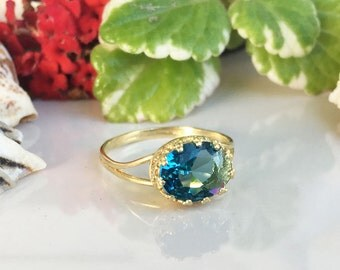 20% off-SALE!!! Blue Topaz Ring - London Blue Topaz - Gold Ring - December Ring - Gemstone Ring - Bezel Ring - Oval Ring - Topaz Jewelry