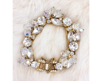 Vintage 1960'S Bridal Possible Juliana, Delizza And Elster Gold And Clear Crystal Rhinestone Statement Bracelet