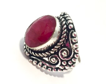 Antique Style 925 Sterling Silver Genuine Ruby Ring Size US 7 3/4 Mothers Day Gift Anniversary  Gift Birthday Gift