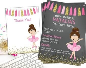 Ballet Recital Invitation - Ballerina Dance Invitation - Dance Digital Invitation - You Print - Pink and Gold Ballet Invitation