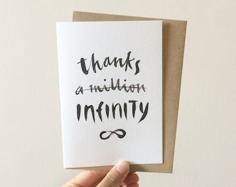 Thanks Infinity - Watercolour + Ink Illustration, 105 x 148mm, Thank You, Appreciation