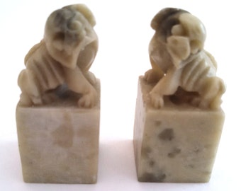 Pair of Chinese carved stone foo dog seal chops