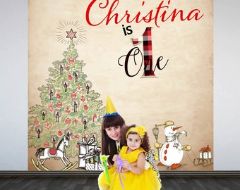 Christmas Birthday Personalized Photo Backdrop - Big One Photo Backdrop- First Birthday Large Photo Backdrop, Printed Backdrop