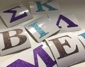 Individual Greek Letter or 3-Pack (Combination) (Glitter) - Decals (stickers)