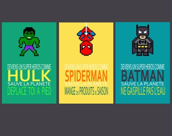 5 french posters with super heroes in french