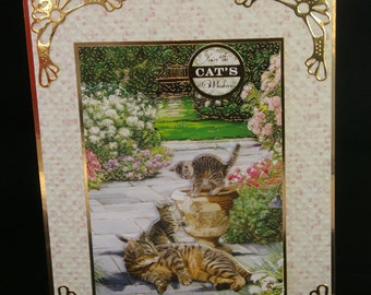 Large 3d Decoupage ' Any Occasion' Tabby Cat with her Kittens Card -  Birthday, Thank you,Father's/Mother's Day, Mum,Dad,Sister, Cousin, Nan
