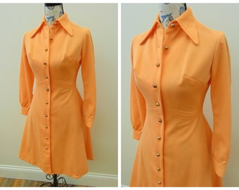Vintage 70's Orange Shirt Dress, Long Sleeve Pointed Collar Full Button Down Polyester, Women's Size 4 Extra Small to Small