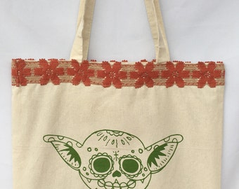 Joda Day of the Dead Tote Bag. Star Wars Joda Shoulder Bag. Joda Character Tote Bag. Gift Friendly.