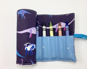 Dinosaur Crayon Roll Kids Birthday Gift Ideas Crayon Holder Dinosaur Party Paleontology Crayon Storage Crayon Case Dinosaur CRAYONS INCLUDED