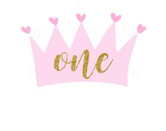 Instant Download, digital file, 1st Birthday, one, princess, crown, Party, shirt Printable Iron On Transfer Sticker custom Birthday Shirt