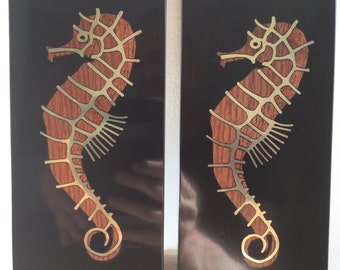 Pair Vintage Couroc Seahorse Wall Plaques Mid Century