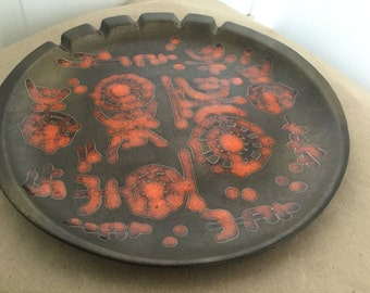 Massive Mid Century Sascha Brastoff Ashtray Abstract Orange & Black