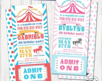Carnival Ticket Birthday Invitation Printable / Digital Long Circus Party Invites with Admit One Ticket Stub