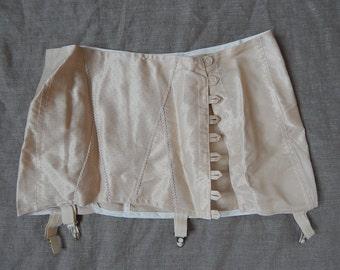 Girdle Soviet -Time Vintage White Suspender Girdle Large Waspie Cotton Lingerie Made in USSR era 1970 s
