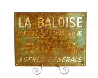 Old metal sign rusty french Panel advertising vintage 1940 - old advertising sign - Decor shabby chic industrial loft