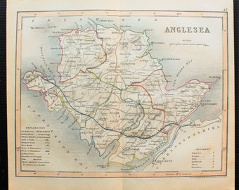 Anglesea, 1820s Antique Map by Archer. Hand Coloured Engraving. Wales, Welsh County