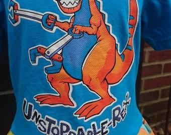 Dinosaur Dress - Blue and Orange T-rex Twirly T-shirt Party Dress - size 2t