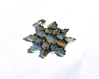 92.5K Sterling Silver Ethiopian Opal Pendent (46x41 M.M.)-natural welo opal Silver Jewelry-welo Opal silver Pendent-boho silver jewelry:-P20