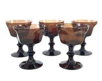 Antique Brown Champagne Glasses by Lenox Set of 5 Tall Sherbet Glasses