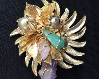 Wired Semi Precious Stone Brooch / Pin