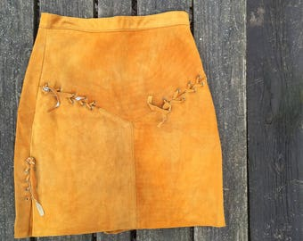 Vintage - Skirt Leather Suede Boho Bohemian Ecthes Leder Size XL Womens 32 inch waist
