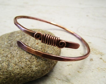 Wire Wrapped Bracelet / Cuff Bracelet / Healing Copper Jewelry / Wire Wrapped Jewelry / Boho Bracelet / 7th Anniversary Gift / Woven Wire