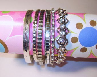 Vintage 6 Silver Tone Bangle Bracelet Lot