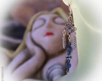Swing from the Chandelier Blue Kyanite Earrings