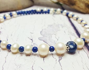 Dainty Pearl Choker, Something Blue Ideas, Personalized Choker ~ Modern 12th Anniversary Gift, 9th Anniversary Gemstone Jewelry Gift For Her