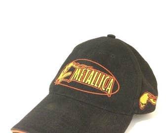 RARE 90s METALLICA Hat / Black w/ Flame graphic