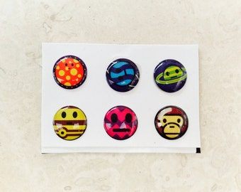 Set of 6 IPhone 3 4 4s 5 5c 5s 6 iPod Touch  iPad Air Monkey UFO Home Buttons